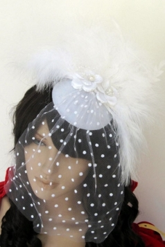 Mini Top-hat With Feather And Flowers White Net