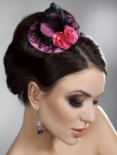 Mini Top Hat With Flowers And Lace Nylon