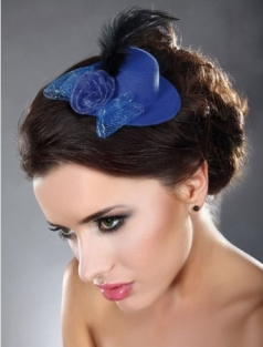 Blue Mini Top Hat with Rose And Feather