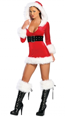 Womens Velvet Hooded Santa Claus Christmas Costume Red
