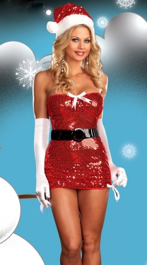 Red Sequin Christmas Dress With Bow And Tie Sexy Santa Costume