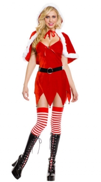Santa Baby Wrap Costume with Belt Sexy Womens Santa Costume
