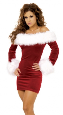 Womens Sexy Velvet Off Shoulder Christmas Costume Red