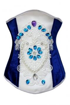 Sapphire Diamond Embedded Flannelette Underbust Corset