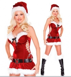 Womens Red Furry Lace Up Halter Santa Claus Costume Christmas Dress