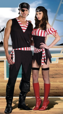 Red Princess White Strips Couple Girl Pirate Halloween Costume