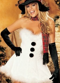 White Snowman Button Strapless Tube Dress Christmas Costume