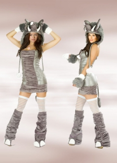 Silver Gray Womens Halloween Elephant Costume