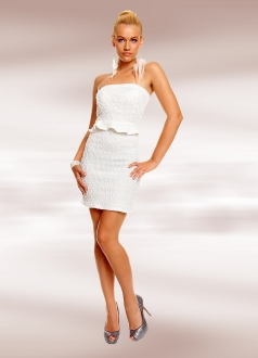Structured Bandeau Mini Dress with Glittering Sequins White