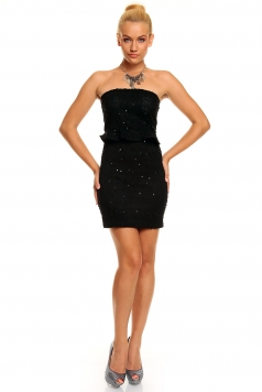 Structured Bandeau Mini Dress with Glittering Sequins Black