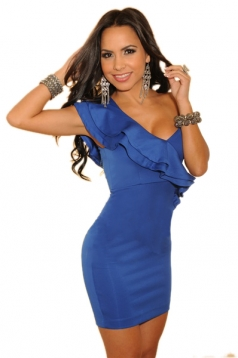 Cascading Ruffles One-shoulder Dress Blue