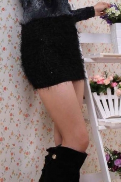 Black Plush Elasticity Sequins Mini Skirt