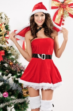 Red Low Cut Hooded Miss Santa Claus Costume Sexy Christmas Costume