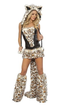 Leopard Hood Leather Wild Cat Costume