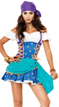 Blue Gypsy Fancy Dress Women Pirate Halloween Costume