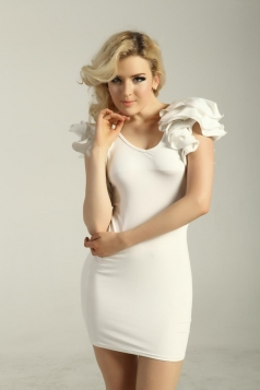 Drap Sleeves V-neck Dress White