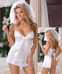 Pure White Halloween Babydoll Bride Costume