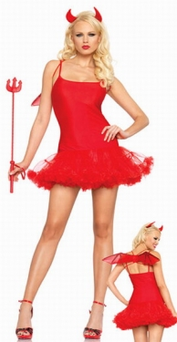 Fancy Red Petticoat Halloween Adult Devil Costume