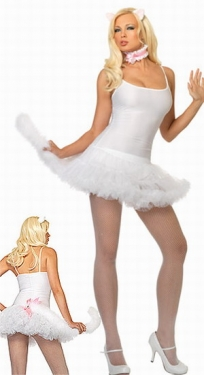 White Sexy Cat Petticoat Womens Costume