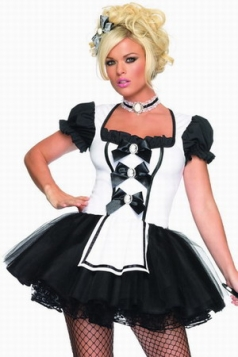 Short Sleeves Naughty French Halloween Maid Costume