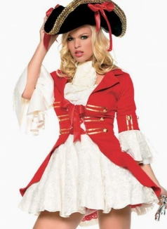 Red Lace Up Duchess Pirate Halloween Costume