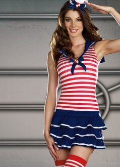 Sexy Sailor Girl Halloween Costume Red Stripe Top and Layered Skirt