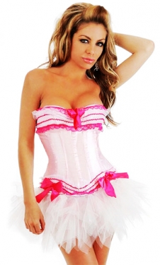 Fancy White Corset with Skirt