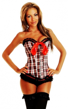 Fancy Checks Lace Corset
