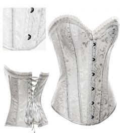 White Strapless Steel Floral Print Corset