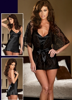 Black Low-cut Stain Baby Doll and Matching Lace Robe