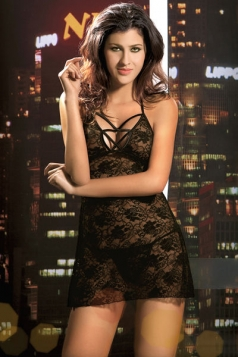 Black Backless Lace Baby Doll