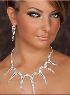 Precious Rhinestone Bead Chain Necklace And Earrings