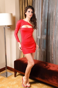 One Shoulder Decollete Red Sexy Mini Dress
