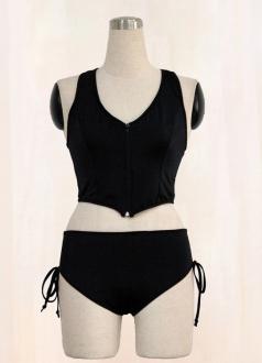 Two Pieces Zipper Black Vest And Panty Set