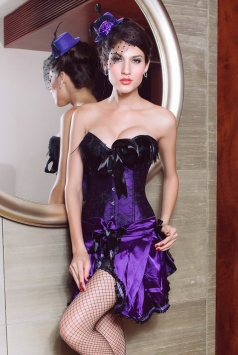 Feather Top Corset With Matching Skirt Bustier