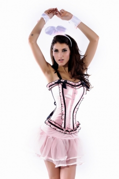 Wide Ruffle and Double Bows Bunny Corset Costume