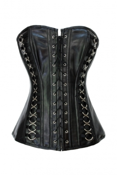 Strapless PVC Straps Front and Back Corset