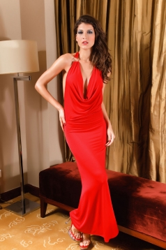 Long Red Halter Slinky Gown Dress