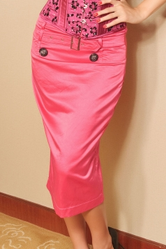 Gorgeous Pink Long Pencil Skirt
