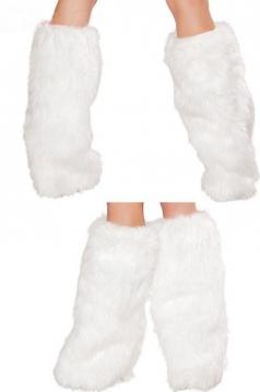 White Furry Leg Warmers Leg Warmer Santa Fur Boot Covers