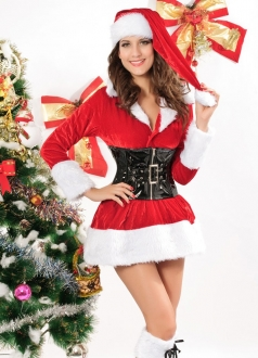 Sexy Womens Christmas Story with Red Corset Santa Costume