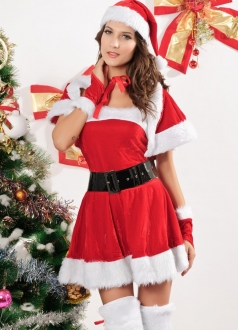 Red Velvet Wrap Naughty Miss Santa Claus Costume Christmas Outfit
