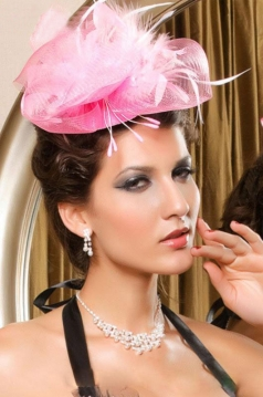 Pink Mini Top Net Hat with Feather