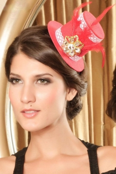 Victorian Mini Top Hat with Rhinestone Flower Details