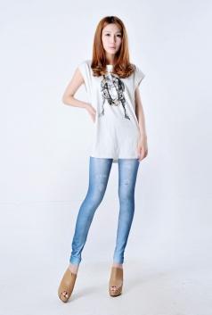 Classic Blue Slim Denim Look Stretch Leggings