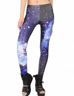 Blue Wave Nebula Galaxy Print Leggings