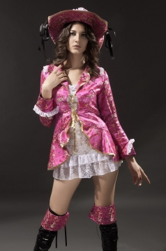 Pink Flower Print Long Sleeve Fantasia Pirata Luxo Halloween Costume