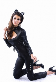 Womens Sexy Black Catwomen Catsuit Halloween Costume