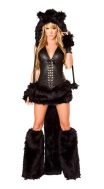 Furry Deluxe Halloween Black Cat Costume
