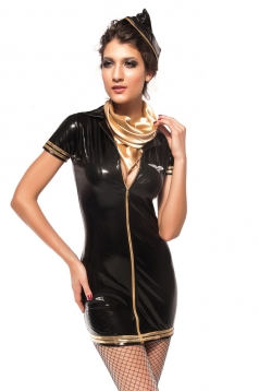 Black Leather Zip Turndown Collar Stewardess Costume